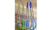 Necklaces Triangle Beads Stones Triple Long Seeds Bali