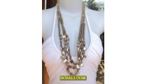 Seashell Beads Triple Strand Necklaces