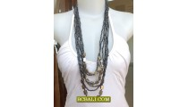 Women Beaded Necklaces Multi Strand