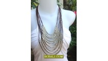 Women Fashion Rope Necklaces Multi String Steels