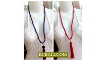 Wooden Beaded Tassel Necklaces Bali