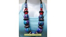 Bali Assorted Color Wood Beaded Necklaces