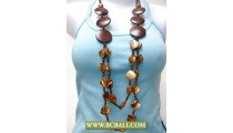 Bali Layered Necklace Wood mix Shells
