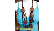 Natural Wood Flower Necklace Beaded Fashion