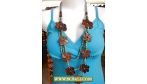Vintage Wooden Flower and Beaded Necklace