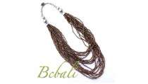 Beading Necklace Multi Strands Solid Color