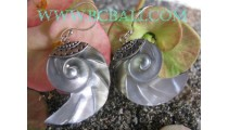 Exotic Carved Shells Earrings Silver
