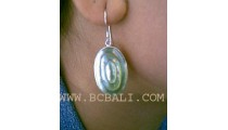 Silver Earrings Carved Seashell