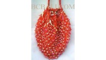 Handbags Full Beads Reds