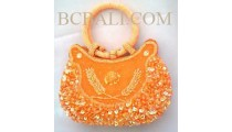 Orange Women Bag Motif Beads