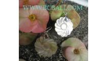 Silver Earrings Seashells Carved Flower