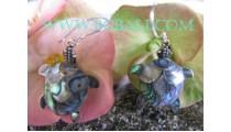 Earrings Silver Shells Abalone Turtle