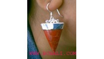 Red Coral Silver 925 Earrings