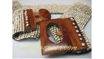 Natural Beads Buckle Belt