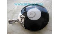 Black Shiva Eyes Pendant Silver