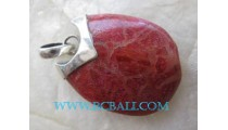 Coral Red Pendant Silver