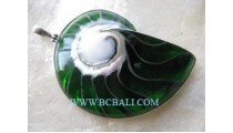 Green Abalone Shell Pendant Silver