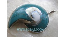 Nautilus Shell Spiral Pendant Silver
