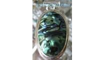 Paua Sea Shell Silver Pendant