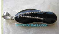 Pendant Black Shell Silver Sandals