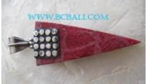 Red Coral Silver Pendant Bali