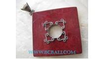 Red Coral Square Silver Pendant
