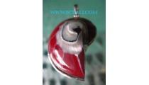 Red Nautilus Pendant Silver