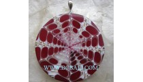 Red Resin Shell Pendant Silver