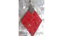 Silver Carved On Pendant Red Coral