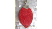 Sterling Coral Pendant In Red