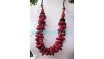 Angela Wooden Seeds Bead Necklaces Red