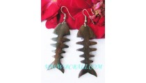 Bone Fish Woods Earring Carved