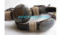 Hand Made Leather Stone Bracelets