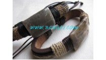 Stone Carved Leather Bracelets