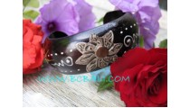 Black Wooden Hand Painting Bangles