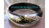 Black Wooden Painting Bangles