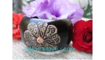 Large Floral Wooden Bangle Accessories