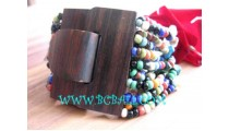 Bead Bracelet Wooden Buckle