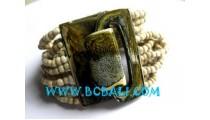 Bead Bracelets Wooden Clasps