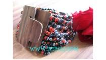 Beads Bracelet Woods Buckle