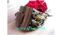Beads Bracelets Wooden Buckle