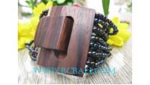 Black Bead Buckle Bracelets