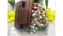 Golden Bead Bracelet With Buckle Wood