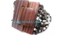 Wood Beads Bracelets Buckle