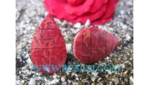 Crushed Shell Coral Red Earring