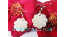 Bone Earring Floral Carved