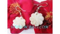 Bone Earring Floral Carved