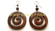 Carved Wood Earring