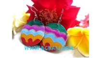 Colorful Wooden Ear Stud
