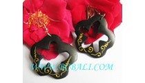 Bali Wooden Hand Painting Earrings